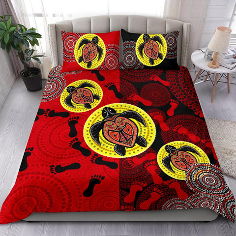 1stAustralia Bedding Set - Aboriginal Dot Painting Bedding Set Turtle