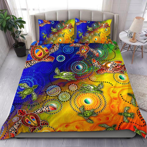 1stAustralia Bedding Set - Aboriginal Patterns Bedding Set Turtle Art
