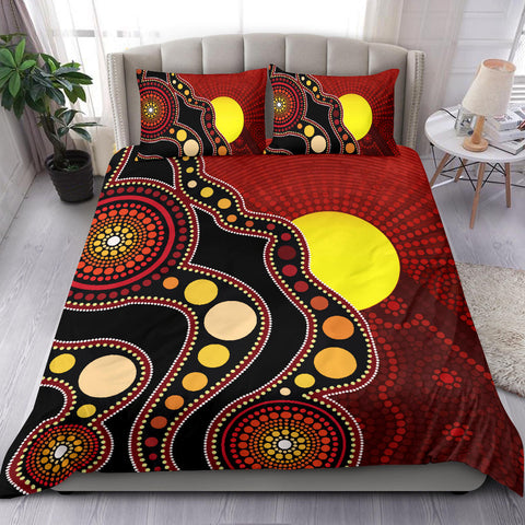 1stAustralia Aboriginal Bedding Set, Australia Indigenous Flag Circle Dot Painting Art Bedding Set