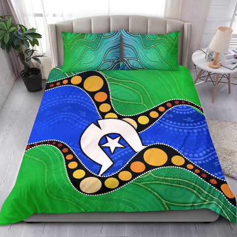 1stAustralia Torres Strait Islands Bedding Set -  Flag with Aboriginal Patterns