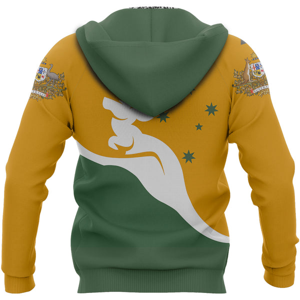 1stAustralia Zip Up Hoodie - Kangaroo Hoodie Australian Coat Of Arms National Color - Unisex - Th9
