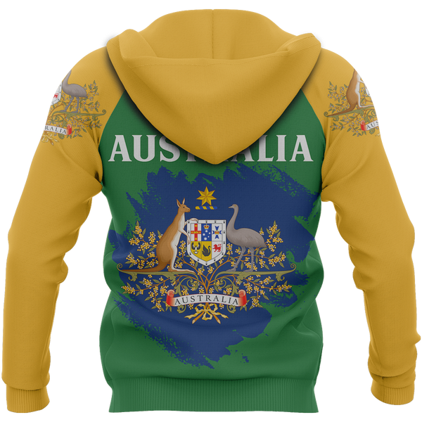 Australia Zip-Up Hoodie Flag Brush Style