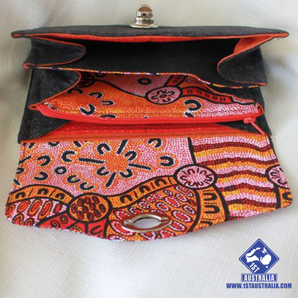 Australian Wallet Indigenous Design Fabric Clutch Wallet Red, Orange and Black