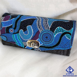 Blue Australian Indigenous Design Fabric Clutch Wallet