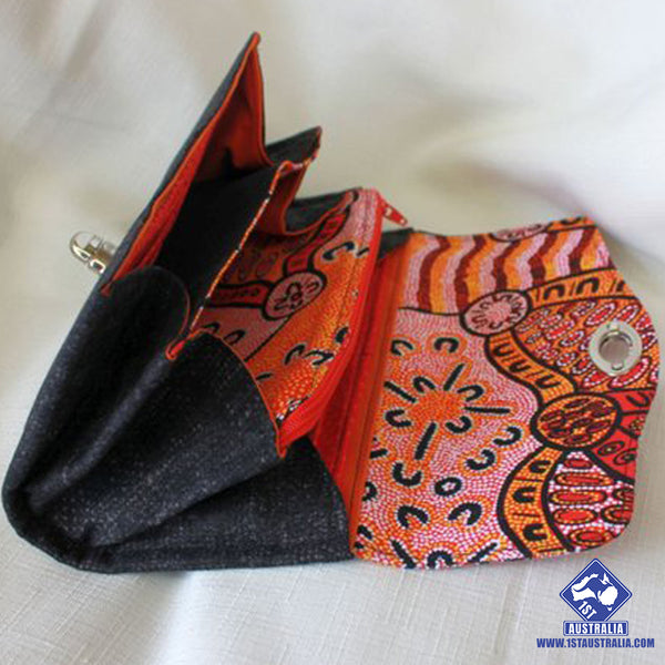 1stAustralia Fabric Clutch Wallet - Aboriginal Patterns Wallet - R9