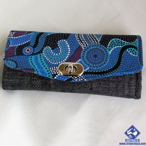 Blue Australian Indigenous Design Fabric Clutch Wallet R9