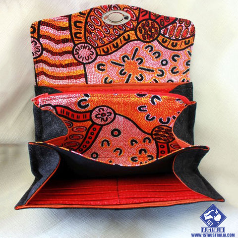 Australian Wallet Indigenous Design Fabric Clutch Wallet Red, Orange and Black R9