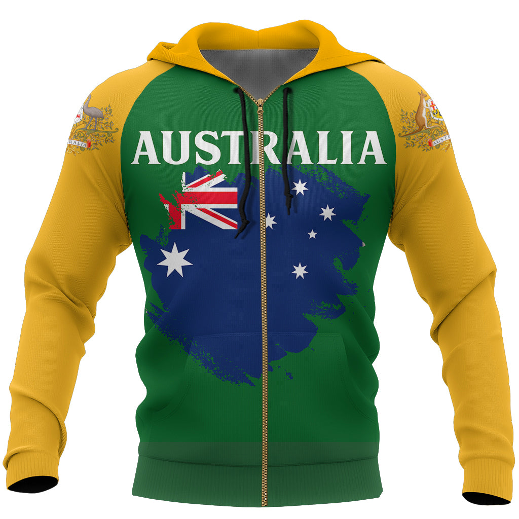 Australia Hoodie (Zip-Up) Flag Brush Style
