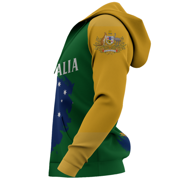 1stAustralia Zip Up Hoodie - Australia Map Hoodie Australian Coat Of Arms Brush Style Unisex - Th9