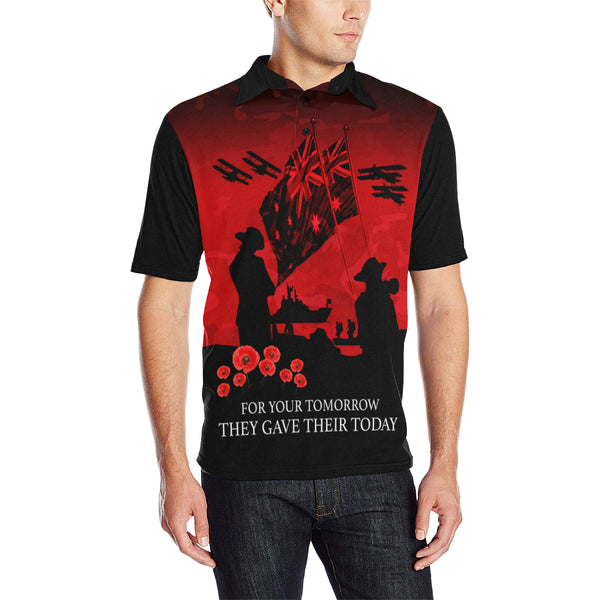 Anzac Australia Remembers Polo Shirt with Red mix Black color - Front - For Men