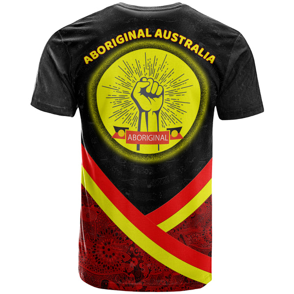 (Custom) 1stAustralia TShirt - Aboriginal Flag And Animals Pattern - BN17
