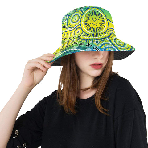 1stAustralia Aboriginal Bucket Hat, Dot Painting Indigenous Circle Patterns