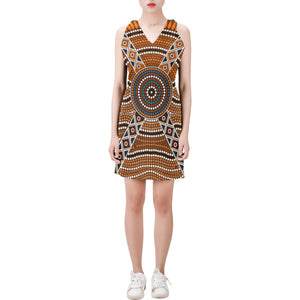 1stAustralia V Neck Dress - Aboriginal Dot Painting Dress Ver01 - Th1