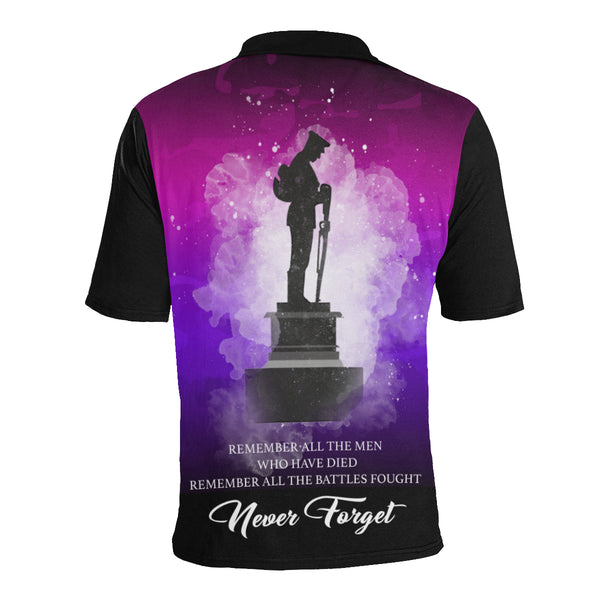 Never Forget Australia Anzac Polo with Purple mix Black color - Back - For Women