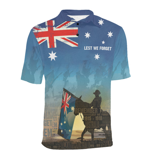 Anzac Australia Lest We Forget Polo Shirt with Blue color - Front - For Men and Women