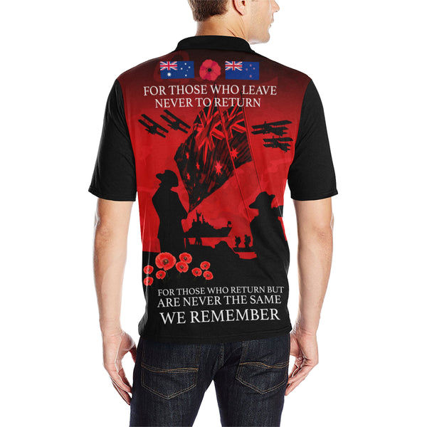 Anzac Australia Remembers Polo Shirt with Red mix Black color - Back - For Men