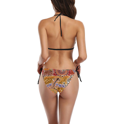 Image of Australia Swimsuit Buckle Front Halter Bikini Australia Pattern Pattern TH1