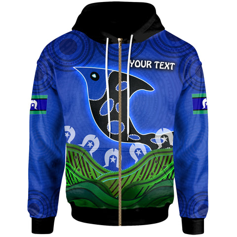 1stAustralia Personalised Zip-Up Hoodie - Torres Strait Dot Patterns Fish