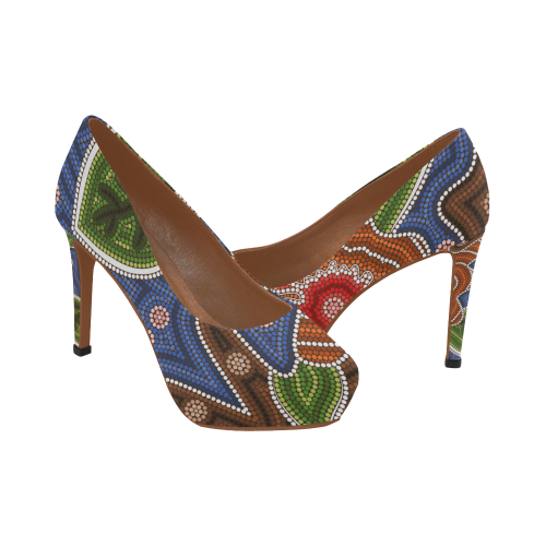 1stAustralia High Heels - Aboriginal Dot Painting Shoes - Nn0