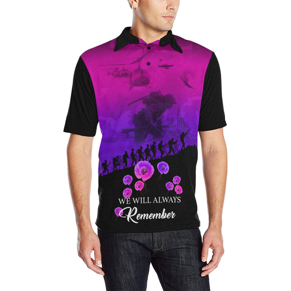 Never Forget Australia Anzac Polo with Purple mix Black color - Front - For Men