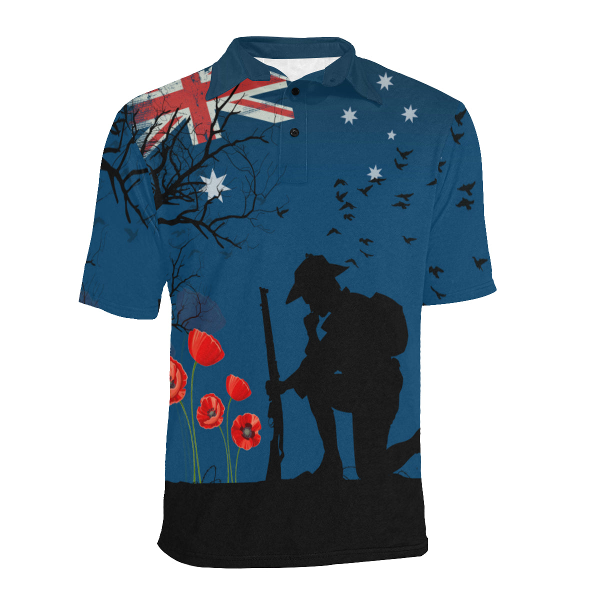 Anzac Australia Remembers Polo Shirt with Blue mix Black color - Front - For Women
