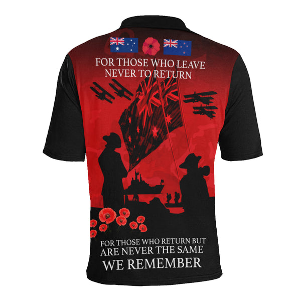 Anzac Australia Remembers Polo Shirt with Red mix Black color - Back - For Women
