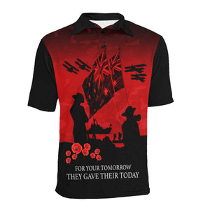Anzac Australia Remembers Polo Shirt with Red mix Black color - Front - For Women