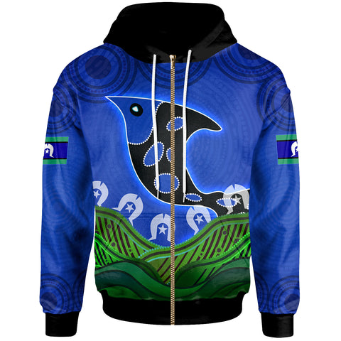 1stAustralia Zip-Up Hoodie - Torres Strait Dot Patterns Fish