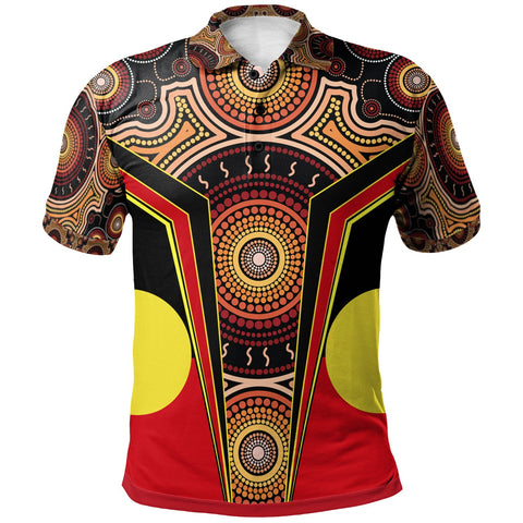 1stAustralia Polo Shirt - Aboriginal With Dot Painting Art - BN17