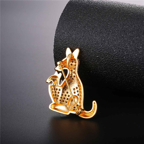 Cute Kangaroo Brooch Gold