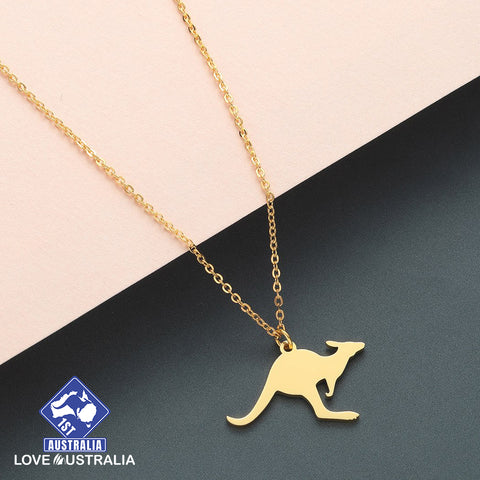 Image of Kangaroo Necklace Stainless Steel Rose Gold Australia