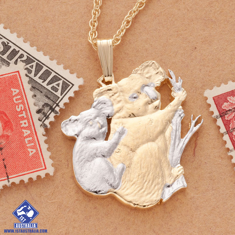 Koala And Baby Pendant And Necklace Hand Cut Australian Commemorative