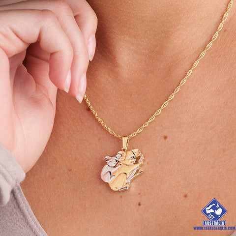 Image of Koala And Baby Pendant And Necklace Hand Cut Australian Commemorative