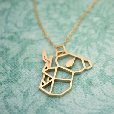 Image of Gold And Silver Personalized Koala Necklace Origami