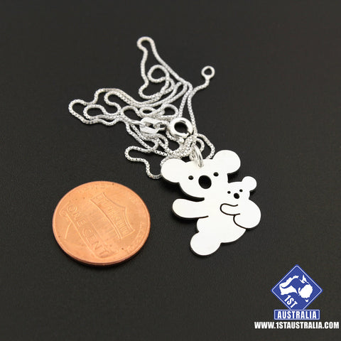 Image of Koala Necklace 925 Sterling Silver Mother & Baby Koala Animal R9