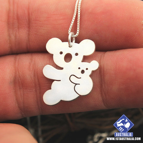 Koala Necklace 925 Sterling Silver Mother & Baby Koala Animal R9