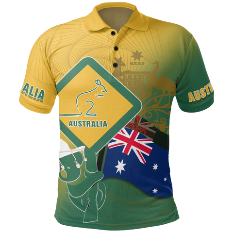1stAustralia Polo Shirt - Aus Flag and Coat Of Arms Shirt Kangaroo and Koala Sign - Unisex