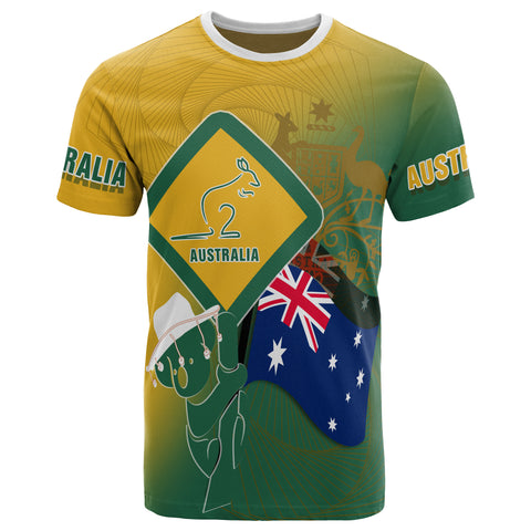 1stAustralia T-shirt - Aus Flag and Coat Of Arms Shirt Kangaroo and Koala Sign - Unisex