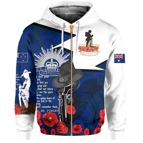 1stAustralia Hoodie Anzac Day 2020, Lest We Forget (Zip) - A7