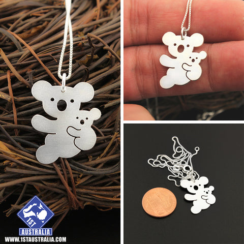 Image of Koala Necklace 925 Sterling Silver Mother & Baby Koala Animal