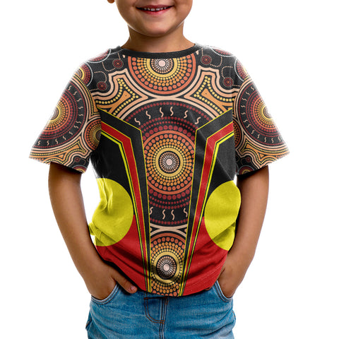 1stAustralia T-Shirt Kid - Aboriginal With Dot Painting Art - BN17