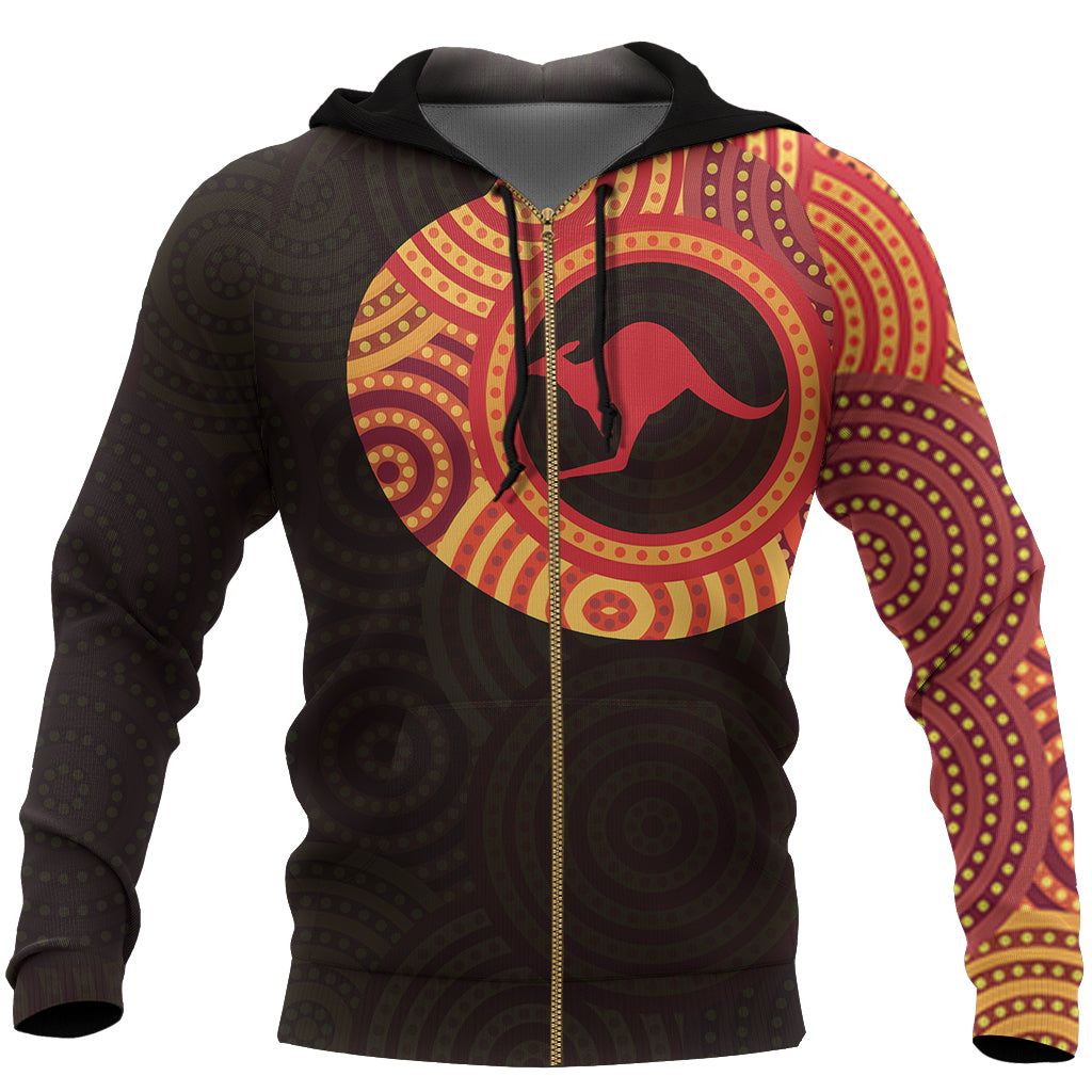 Australia Aboriginal Hoodie (Zip-Up) In My Heart Australia Pattern Tattoo Kangaroo