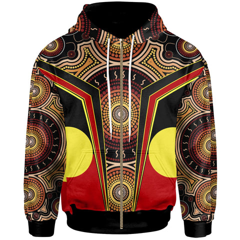 1stAustralia Zip-Up Hoodie - Aboriginal With Dot Painting Art - BN17