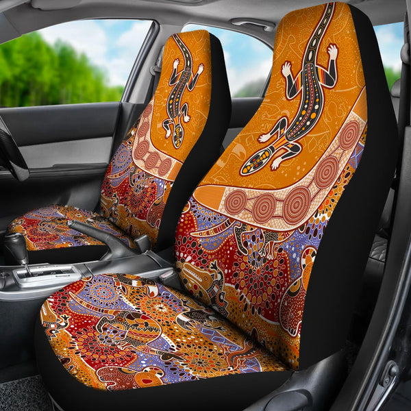 1stAustralia Aboriginal Car Seat Covers, Boomerang Lizard Kangaroo Koala Crocodile Arts - Bn14