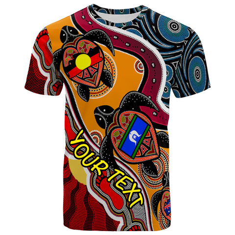 [Custom] 1stAustralia T-shirt - Australia Aboriginal Dots With Turtle and NAIDOC Flags - BN19