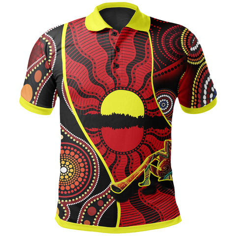 1stAustralia Polo Shirt - Australia Aboriginal Dots With Didgeridoo - Bn19