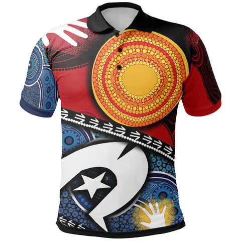 1stAustralia Polo Shirt - Australian NAIDOC Aboriginal and Torres Strait Island Flags - Bn19