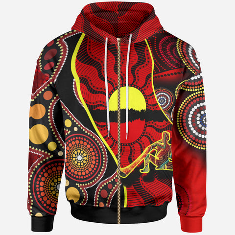 1stAustralia Zip-up Hoodie - Australia Aboriginal Dots With Didgeridoo - BN19