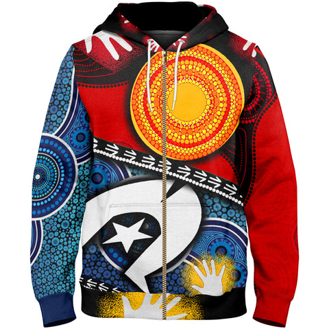 1stAustralia Zip-up Hoodie - Australian NAIDOC Aboriginal and Torres Strait Island Flags - BN19