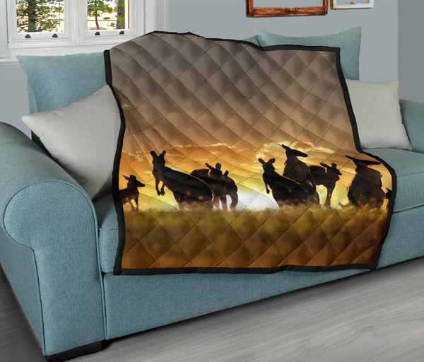 1stAustralia Premium Quilts - Kangaroo Coverlets Family Sunset Painting Ver02A - K5